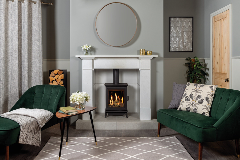 Sheraton 5 Gas with Claremont Antique White Marble mantel