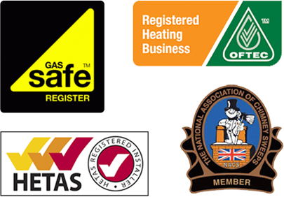 Accreditations. Gass Safe, Registered Heating Business, HETAS, Chimney Sweeps