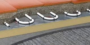 under flooring heating pipes in screed